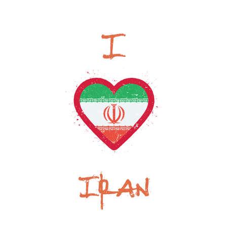 I love Iran, Islamic Republic Of t-shirt design. Iranian flag in the shape of heart on white background. Grunge vector illustration. Çizim