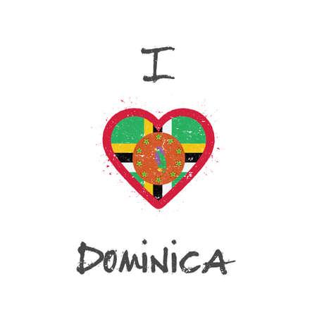 I love Dominica t-shirt design. Dominican flag in the shape of heart on white background. Grunge vector illustration. Illustration