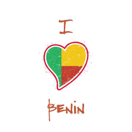 Beninese flag patriotic t-shirt design. Heart shaped national flag Benin on white background. Vector illustration.