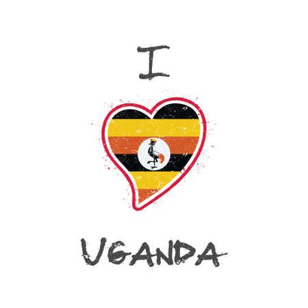 Oegandese vlag patriottische t-shirt design. Hartvormige nationale vlag Oeganda op witte achtergrond. Vector illustratie
