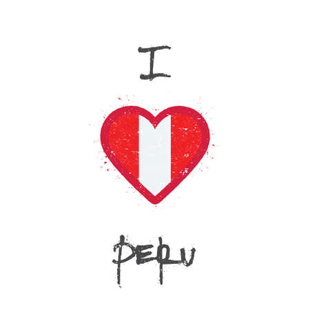 I love Peru t-shirt design. Peruvian flag in the shape of heart on white background. Grunge vector illustration.