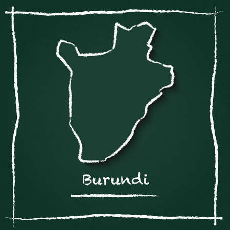 Burundi outline vector map hand drawn with chalk on a green blackboard. Chalkboard scribble in childish style. White chalk texture on green background. Illustration