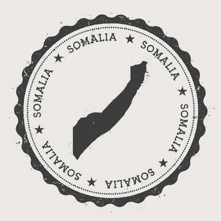 Somalië hipster ronde vintage rubberen stempel met landkaart. Stock Illustratie