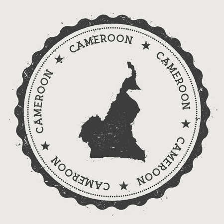 Cameroon hipster round rubber stamp with country map. Vintage passport stamp with circular text and stars, vector illustration.