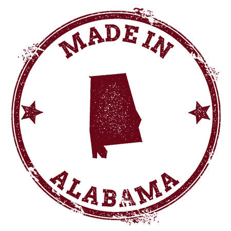 Alabama vector seal. Vintage USA state map stamp. Grunge rubber stamp with Made in Alabama text and USA state map, vector illustration. Vettoriali