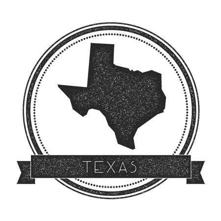 Texas vector map stamp. Retro distressed insignia with US state map. Hipster round rubber stamp with Texas state text banner, USA state map vector illustration.