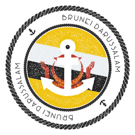 Nautical Travel Stamp with Brunei Darussalam Flag and Anchor. Marine rubber stamp, with round rope border and anchor symbol on flag background. Vector illustration.