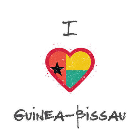 I love Guinea-Bissau t-shirt design. Guinea-Bissauan flag in the shape of heart on white background. Grunge vector illustration.