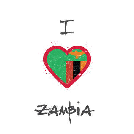 I love Zambia t-shirt design. Zambian flag in the shape of heart on white background. Grunge vector illustration.