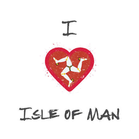 I love Isle of Man t-shirt design. Manx flag in the shape of heart on white background.