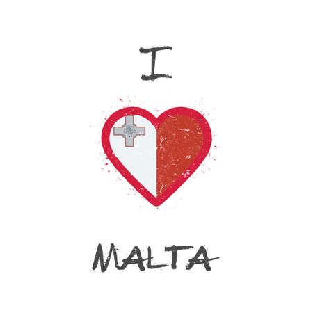 I love Malta t-shirt design. Maltese flag in the shape of heart on white background. Çizim