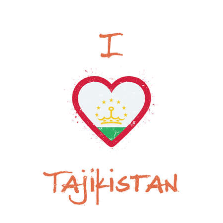 I love Tajikistan t-shirt design. Tadzhik flag in the shape of heart on white background. Çizim