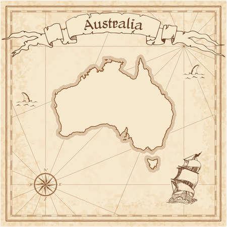 Oude schatkaart van Australië. Sepia gegraveerde sjabloon van piratenkaart. Gestileerde piraatkaart op vintage papier.