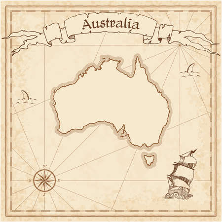 Australia old treasure map. Sepia engraved template of pirate map. Stylized pirate map on vintage paper.