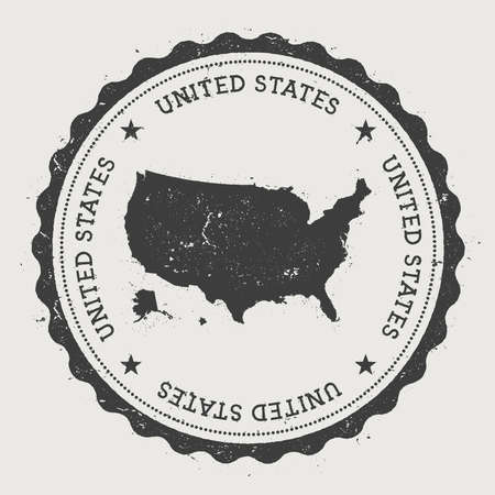 United States hipster round rubber stamp with country map. Vintage passport stamp with circular text and stars, vector illustration. Vettoriali