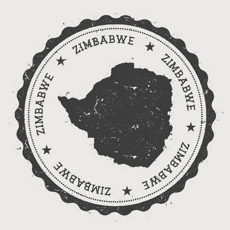 Zimbabwe hipster round rubber stamp with country map. Vintage passport stamp with circular text and stars, vector illustration.