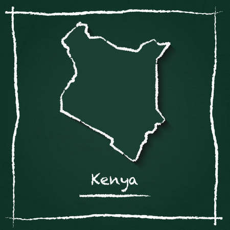 Kenya outline vector map hand drawn with chalk on a green blackboard. Chalkboard scribble in childish style. White chalk texture on green background.  イラスト・ベクター素材