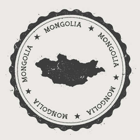 Mongolia hipster round vintage rubber stamp with country map.