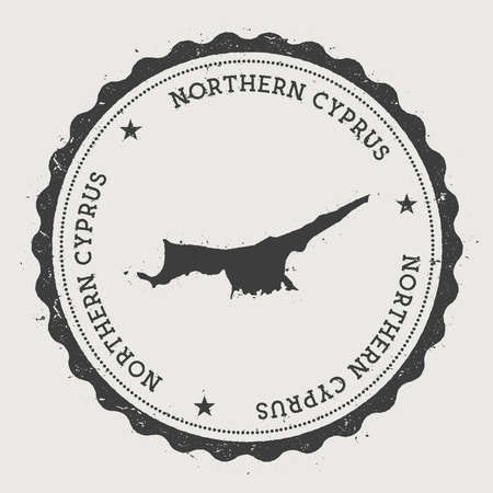 Northern Cyprus hipster round rubber vintage passport stamp with country map with circular text and stars vector illustration. Illustration