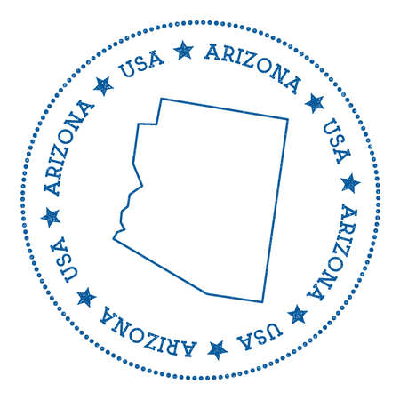 Hipster and retro style badge with Arizona map minimalistic insignia with round dots border vector illustration.  イラスト・ベクター素材