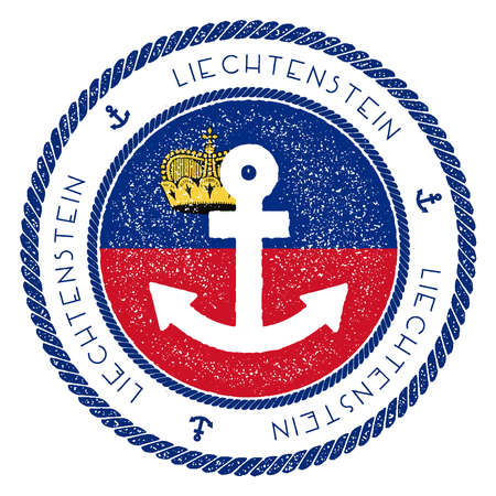 Nautical travel stamp with Liechtenstein flag and anchor. Marine rubber stamp, with round rope border and anchor symbol on flag background. Vector illustration. Illustration