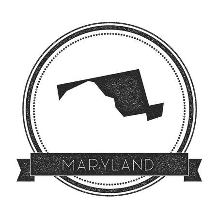Maryland vector map stamp. Retro distressed insignia. Hipster round rubber stamp with Maryland state text banner,vector illustration.