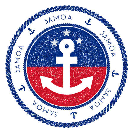 Nautical Travel Stamp with Samoa Flag and Anchor. Marine rubber stamp, with round rope border and anchor symbol on flag background. Vector illustration. Illustration