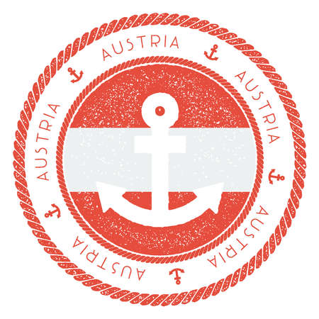 Nautical Travel Stamp with Austria Flag and Anchor. Marine rubber stamp, with round rope border and anchor symbol on flag background. Vector illustration.