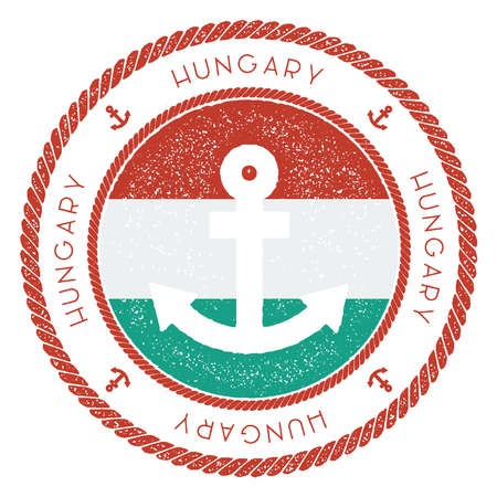 Nautical Travel Stamp with Hungary Flag and Anchor. Marine rubber stamp, with round rope border and anchor symbol on flag background. Vector illustration.