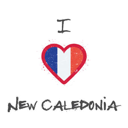 I love New Caledonia t-shirt design. New Caledonian flag in the shape of heart on white background. Grunge vector illustration.