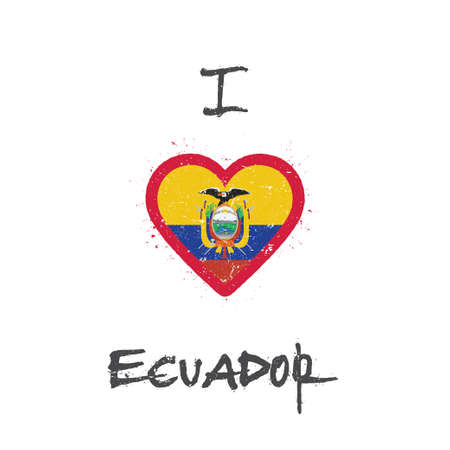 I love Ecuador t-shirt design. Ecuadorean flag in the shape of heart on white background. Grunge vector illustration.