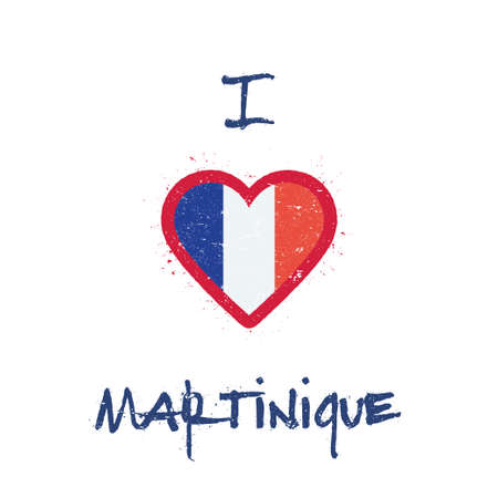 I love Martinique t-shirt design with French flag in the shape of heart on white background.