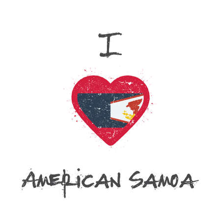 I love American Samoa t-shirt design. American Samoan flag in the shape of heart on white background. Grunge vector illustration.
