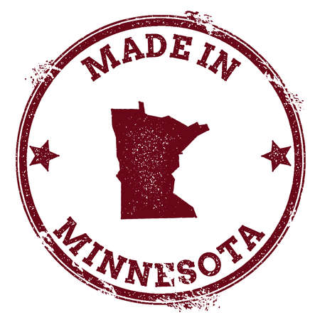 Minnesota vector seal. Vintage USA state map stamp. Grunge rubber stamp with Made in Minnesota text and USA state map, vector illustration. Illustration