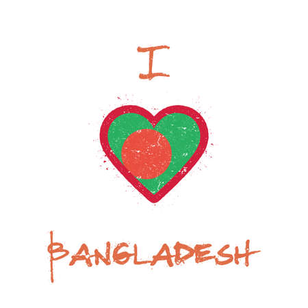 I love Bangladesh t-shirt design. Bangladeshi flag in the shape of heart on white background. Grunge vector illustration.