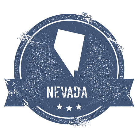 Nevada mark. Travel rubber stamp with the name and map of Nevada, vector illustration. Can be used as insignia, logotype, label, sticker or badge of USA state.