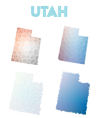 Utah polygonal us state map. Mosaic style maps collection. Bright abstract tessellation, geometric, low poly, modern design. Utah polygonal maps for infographics or presentation.
