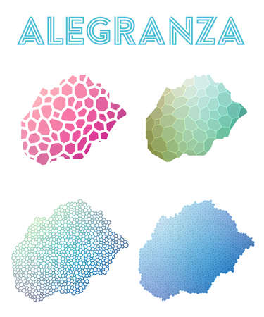 Alegranza polygonal island map. Mosaic style maps collection. Bright abstract tessellation, geometric, low poly, modern design. Alegranza polygonal maps for infographics or presentation. Illustration