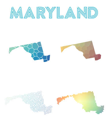 Maryland polygonal us state map. Mosaic style maps collection. Bright abstract tessellation, geometric, low poly, modern design. Maryland polygonal maps for infographics or presentation. Illustration