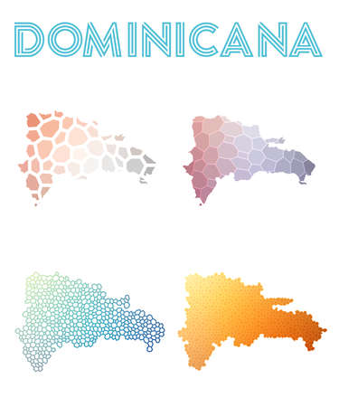 Dominicana polygonal map. Mosaic style maps collection. Bright abstract tessellation, geometric, low poly, modern design. Dominicana polygonal maps for infographics or presentation.