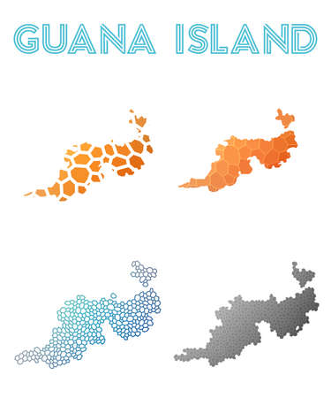 Guana Island polygonal island map. Mosaic style maps collection. Bright abstract tessellation, geometric, low poly, modern design. Guana Island polygonal maps for infographics or presentation. Illustration