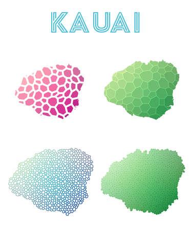 Kauai polygonal island map. Mosaic style maps collection. Bright abstract tessellation, geometric, low poly, modern design. Kauai polygonal maps for infographics or presentation.