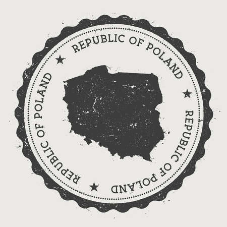 Poland hipster round rubber stamp with country map. Vintage passport stamp with circular text and stars, vector illustration. Ilustrace