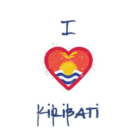 I love Kiribati t-shirt design. I-Kiribati flag in the shape of heart on white background. Grunge vector illustration.
