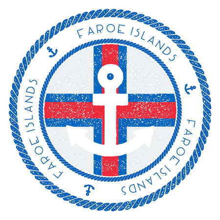Nautical Travel Stamp with Faroe Islands Flag and Anchor. Marine rubber stamp, with round rope border and anchor symbol on flag background. Illustration