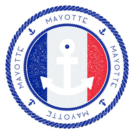 Nautical Travel Stamp with Mayotte Flag and Anchor. Marine rubber stamp, with round rope border and anchor symbol on flag background. Vector illustration. Illustration