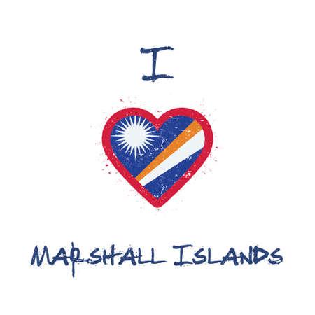I love Marshall Islands t-shirt design. Marshallese flag in the shape of heart on white background. Grunge vector illustration. Çizim