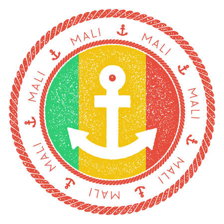 Nautical Travel Stamp with Mali Flag and Anchor. Marine rubber stamp, with round rope border and anchor symbol on flag background.