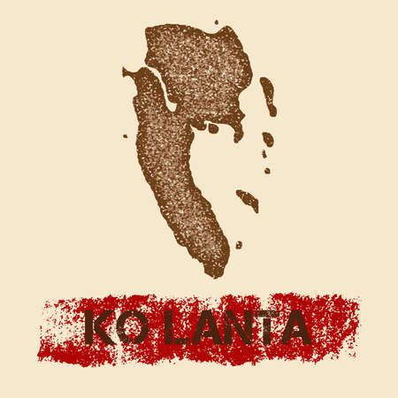 Ko Lanta distressed map. Grunge patriotic poster with textured island ink stamp and roller paint mark, vector illustration. Ilustracja
