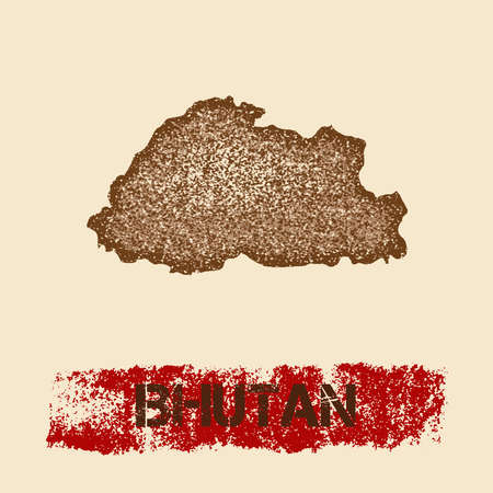 Bhutan distressed map. Grunge patriotic poster with textured country ink stamp and roller paint mark, vector illustration.